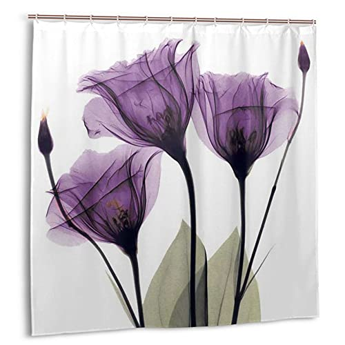 Hapyshop Purple Tulip Shower Curtain Waterproof Fabric Floral Flower Green Leaves Natural Scenery Bath Curtain 72 X 72 Inch Lucency Romance Simple Bathroom Decor with 12 Hooks