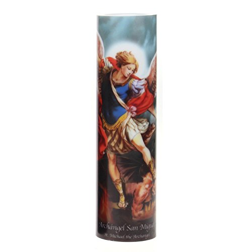The Saints Collection St. Michael Flickering LED Prayer Candle with Timer, Prayer in English and Spanish, Religious Gift Ideas for Family and Friends
