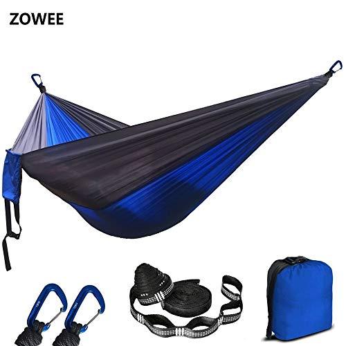 Hamac hamac en nylon parachute de couleur variées en plein air de camping portable double personne balançoire hamac (Color : Orange and grey)