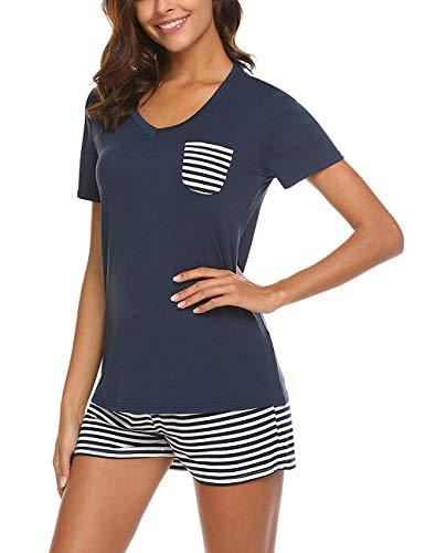 Uni-Wert Damen Schlafanzug Zweiteilig Nachtwäsche Frauen Pyjama Set T-Shirt + Hose Kurz, Marineblau - Kurz, M
