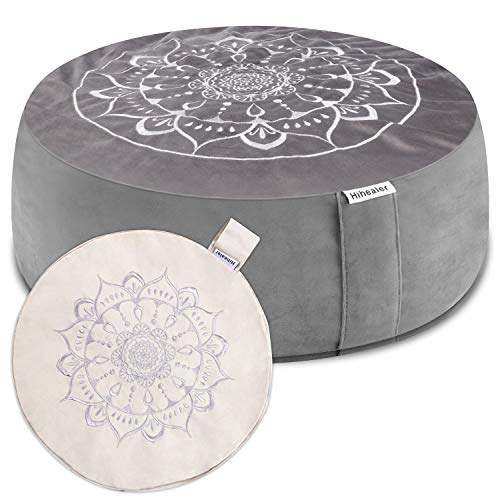 """Hihealer Meditation Cushion with Extra Free Cover 16""""x16""""x5"""" Meditation Pillow for Sitting on Floor, Zafu Yoga Floor Pillow Great Gifts for Women, Mom, Men, Birthday, Family, Friends"""