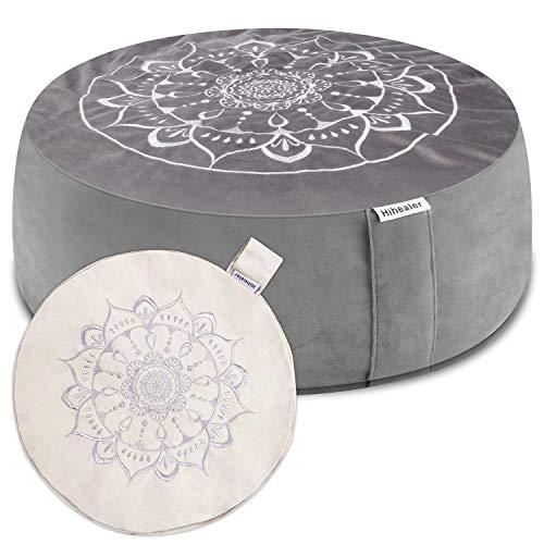 Hihealer - Cojín de meditación con funda extra gratis, 40,6 x 40,6 x 12,7 cm, relleno de trigo sarraceno, cojín de yoga, almohadas de meditación para sentarse en el suelo, almohada de yoga Zafu