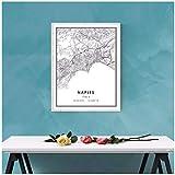 SYBS Leinwand Malerei Welt Neapel Karte drucken Poster auf