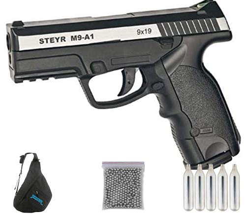ASG Steyr m9-A1 Duotone | Pack Pistola de balines (perdigones Bolas de Acero BB's). Arma de Aire comprimido CO2 Calibre 4,5mm <3,5J