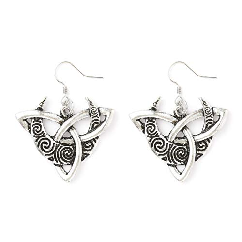 HAQUIL Celtic Jewelry Metal Alloy Celtic Knot Crescent Moon Drop Dangle Earrings