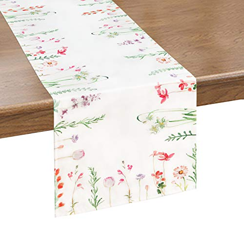 Alishomtll Flower Table Runner Colorful Watercolor Floral Table Runners for Catering Events, Dinner Parties, Wedding, Spring Holiday, Indoor and Outdoor Parties