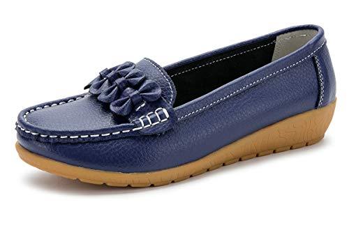 Zapatos de Cuero Cuña para Mujer Mocassins Planos Loafers Antideslizante Otoño Invierno Casual Derby,Azul,EU 38 =CN 39