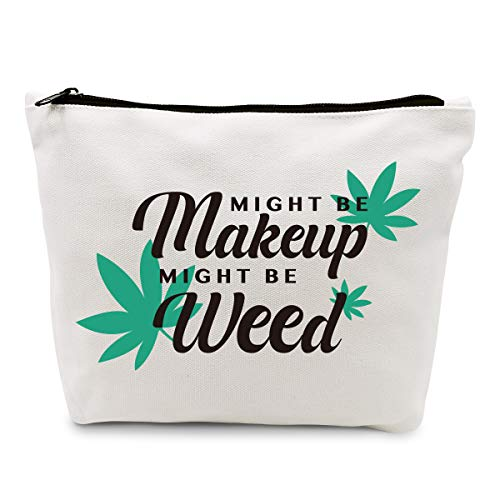 Ihopes Funny Marijuana Weed Leaf Makeup Cosmetic Bag Cotton Zipper Pouch | Might Be Makeup Might Be Weed Cosmetic Travel Bag Toiletry Make-Up Case Multifunction Pouch Gifts for Women Stoner Friend