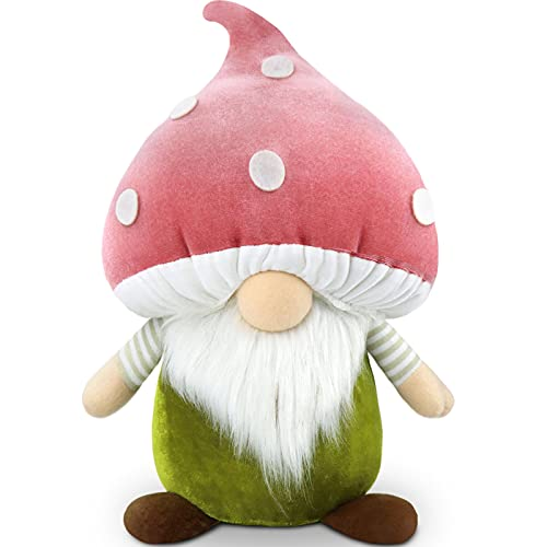 Gehydy Christmas Mushroom Fall Gnome Handmade Farmhouse Decoration Large Size Tomte Plush Holiday Home Decoration Ornament Gifts Figurines - 13 Inch (Pink)