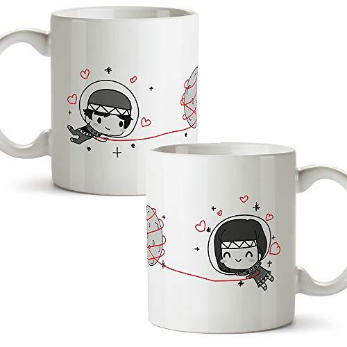 MUGFFINS (Pack 2 tazas) Tazas San Valentín - Astronautas - Regalos Originales y Divertidos de Aniversario para Novios, Enamorados, Pareja.