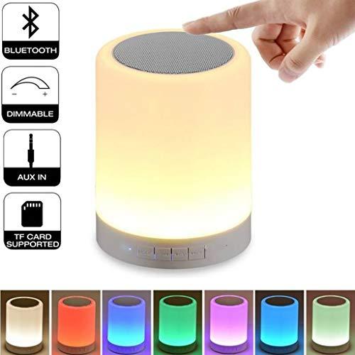 Veilleuses Haut-parleur Bluetooth Intelligent Mini LED Couleur Lampe colorée Haut-parleur portable Commande tactile et contrôle de nuit Veilleuse, Veilleuse Lampe de table, cadeau pour femme Homme Ado