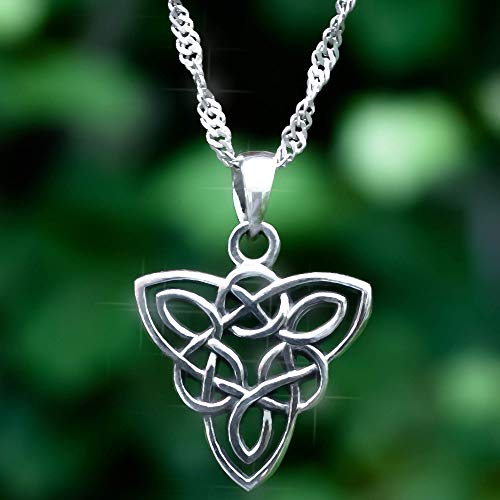 Celtic Knot Pendant Necklace Sterling Silver 925 with 18' inch Chain. Triquetra Endless Knot Charm. Irish Symbol. Norse Jewelry for Women. Handmade