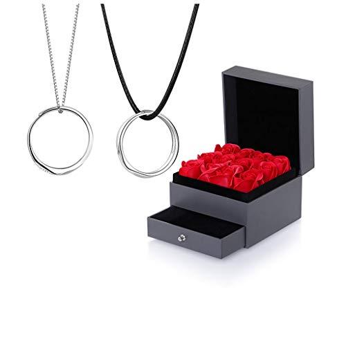 Joyas / Collares Anillo Collar Un par de plata esterlina Pareja colgantes de los hombres y la clavícula de cadena de las mujeres del regalo del día de San Valentín (con caja de regalo) Colgantes de mu