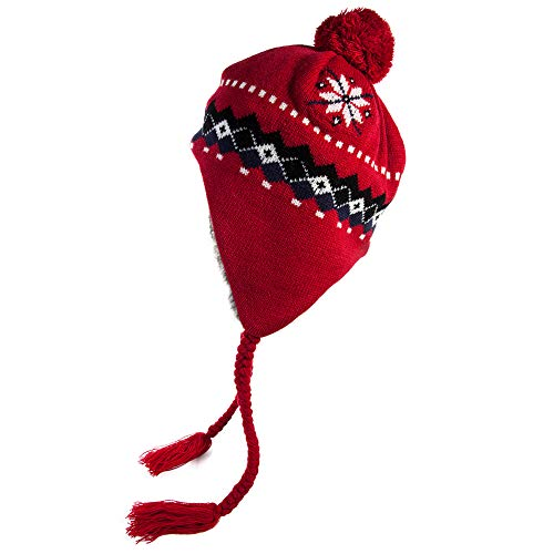 Jeff & Aimy Winter Wool Peruvian Hat Women Red Pom Beanie Earflap Snow Hats Caps Cold Weather Warm Fur Lining