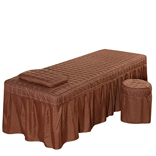 19080cm Solid Beauty Salon Massage Table Bed Sheet Bedspread Skin-Friendly Massage Sheet SPA Treatment Bed Full Cover with Skirt (Brown)