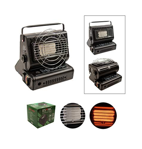 RSonic 90° drehbar tragbare Gasheizung | Keramik-Brenner, 1.3KW | Gasstrahler Heizung | Outdoor, Camping, Angeln Mini Heizer| (Nur Gasheizung)