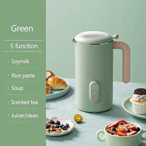 BMMMZ Soymilk Hersteller-Maschine Saftmaschine Blender Automatische Beheizbare Soja-Milch Reispaste Maker Free-Filter (Color : Green)