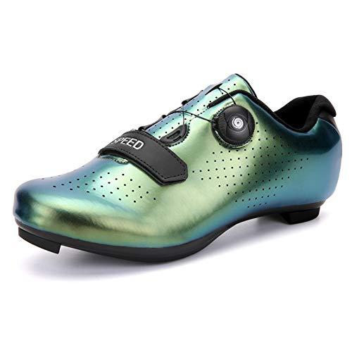 KUXUAN Zapatos de Ciclismo Hombres Mujeres Bicicleta de Carretera Zapatos de Bicicleta MTB con Tacos Luminous Mountain Zapatos de Ciclismo para Interiores y Exteriores,DarkGreen-40EU