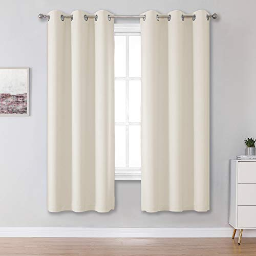Light Beige Curtains for Living Room 42 x 63 Inch Length 2 Panels Sets Blackout Beige Curtain Panels for Bedroom Thermal Insulated Solid Color Room Darkening Grommet Top