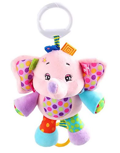 Happy Cherry-Jouet pour Bébé Hochet Poussette Peluche D'éveil Doudou Premier âge avec Anneau en Forme d'animaux-Eléphant Rose
