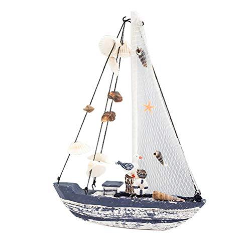 HEALLILY Estatuillas de Barco de Vela Miniatura de Madera Figuras de Maqueta de Velero Decoración de Playa Mar Costero Océano Tema Náutico Estatua para La Decoración de Escritorio de