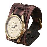 Fliyeong Reloj de pulsera de cuero estilo retro punk rock marrón grande ancho pulsera de los hombres reloj de pulsera marrón elegante y popular