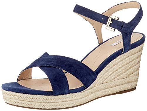 Geox Damen D Soleil A Wedge Sandal, Blue,35 EU