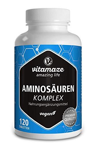 Aminosäuren Komplex hochdosiert & vegan, 120 Tabletten mit 8 essentiellen Aminosäuren (u.a. Tryptophan, Lysin, Leucin, Tyrosin), Natürliche Nahrungsergänzung ohne Zusatzstoffe, Made in Germany