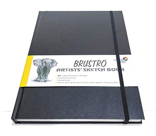 Brustro Artists Stitched Bound Sketch Book, A4 Size, 160 Pages, 110 GSM (Acid Free)