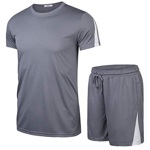 Aibrou Herren Kurzarm Sportswear Set Männer Schnell Trocknend Laufendes T-Shirt Trainingskleidung Jersey Fußball Set Grau+1 S