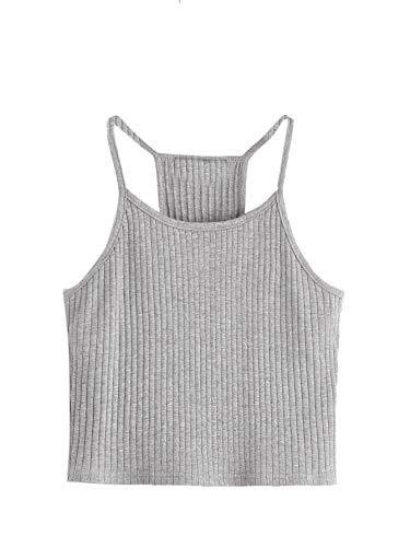SheIn Women's Summer Basic Sexy Strappy Sleeveless Racerback Crop Top Light Grey Small