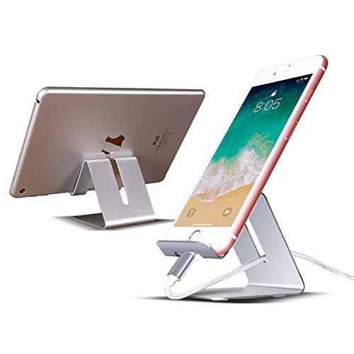 Ossky Soporte móvil Mesa,Soporte Tablet,Soporte Teléfono Mesa Aluminio,Soporte Dock Base para iPhone Samsung Huawei, etc.Se Adapta a Todos los Smartphones y Tabletas de Menos de 9.7 Pulgadas [Plata]