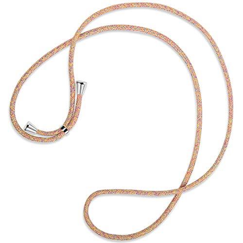 mtb more energy Cuerda de Repuesto para Collar Smartphone - Rainbow - Incluyendo Tapas Protectoras (Plata) - Cuerda de Intercambio Tirante Cadena Banda