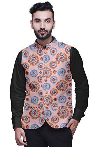 Atasi Ihre rosa abstrakt Mens Casual Jacken leichte Partywear indische Weste gedruckt Nehru Jacke-Large