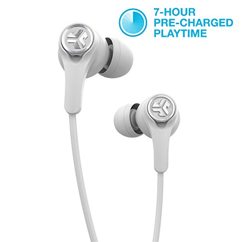 JLab Epic Executive Wireless Active Noise Canceling Earbuds | Bluetooth 4.1 | 11-Hour Battery Life | Universal Music Control | Bluetooth Headphones, Travel Case Included | White