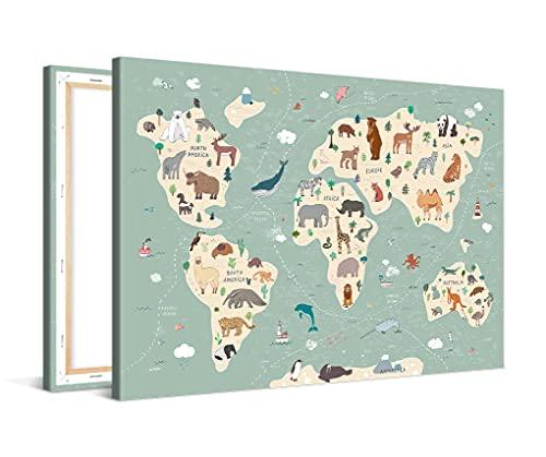 PICANOVA Mappa del Mondo Simpatici Animali 60x40cm - Stampa Artistica su Tela di Alta qualità - Immagine Allungata su Cornice di Legno Come Opera d'Arte della Galleria - Collezione di mappe del Mondo