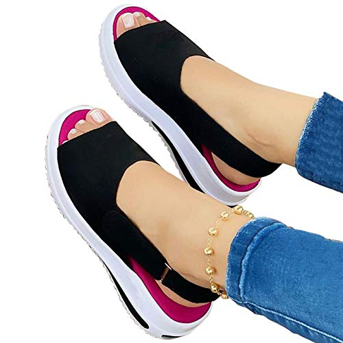 Aniywn Womens Adjustable Buckle Peep Toe Slingback Platform Wedge Sandals Casual Comfortable Beach Sandals Walking Shoes Black