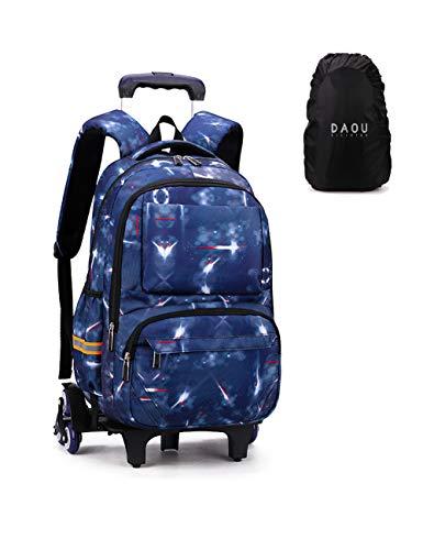 Copertura Offerta Trolley Bag Zaino Scolastico Ruote Zainetti per Bambini Ragazze Ragazzo Zaino Trolley Scuola Elementare Galassia Galassia Spazio blu