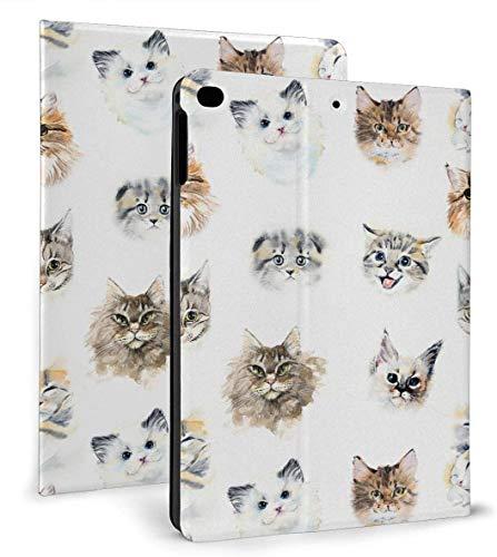 Watercolour Cats PU Funda Inteligente de Cuero Función Auto Sleep / Wake para iPad Mini 4/5 7,9 'y iPad Air 1/2 9,7' Funda
