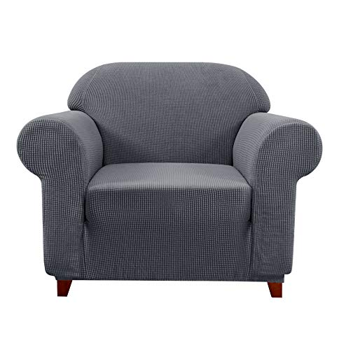 Subrtex Sofa Cover 1-Piece Stretch Couch Slipcover Soft Couch Cover Loveseat Slipcover Armchair Cover Furniture Protector Machine Washable(Small, Gray) -  SBTSF0061