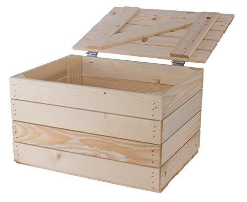 Obstkisten-online 1x Couchtisch Truhe Holz mit Deckel | 48x36x28cm | Tisch mit Platz für Kissen & Decken, Schuhbank, schnelle Ordnung von Kleinkram