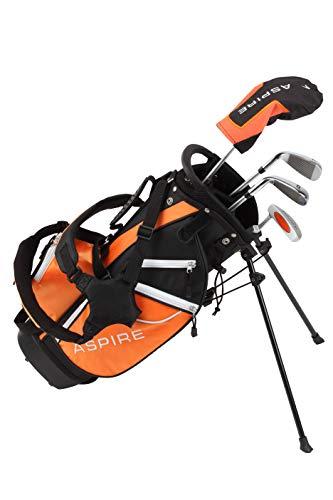 Aspire Golf Junior Plus Complete Golf Club Set for Children Kids - 5 Age Groups Boys & Girls - Right Hand (Orange Ages 5-6)
