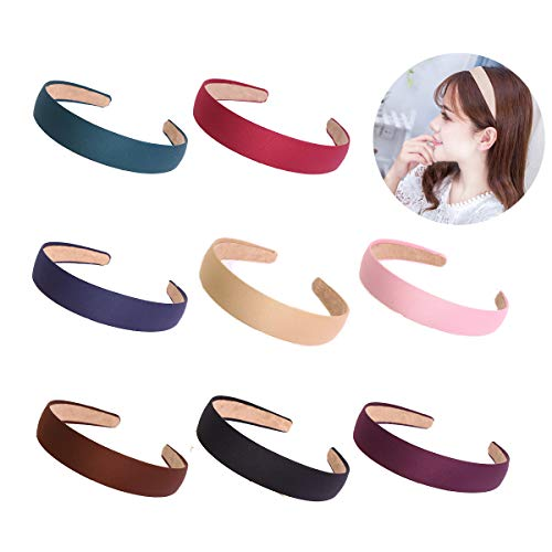 Agreatca 8PCS Hard Headbands丨Satin Headbands,1 Inch Wide Non-slip Ribbon Hairband丨Hair Band Ribbon Headbands For Women or Girl(8 colors)