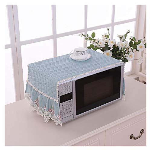 JINAN Housse de protection pour micro-ondes avec broderie en dentelle - Accessoires de décoration anti-poussière - Serviette résistante à l'huile (couleur : bleu)