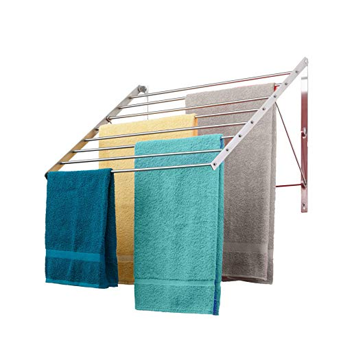 Smartsome | Wall Mounted | Clothes Drying Rack| 22  Wide |15 Linear Feet Capacity | 8 Smooth Round Stainless Steel Rods | 60 lb Capacity | Fully Assembled | Compact Sturdy Space-Saving Design