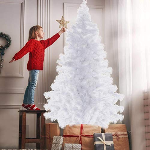 Sentmoon 7ft White Artificial Christmas Tree Full Tree with Metal Stand Perfect for Indoor and Outdoor Holiday Decoration
