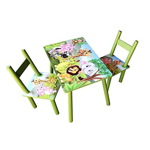 HTI-Line Kindertischgruppe Dschungel Kindermöbel Kinderstuhl Kindersitzgruppe Holzsitzgruppe Kindertisch mit 2 Stühle Sitzgruppe für Kinder Vorschüler Kleinkinder