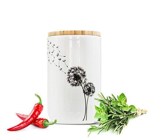 Sendez Vorratsdose aus Porzellan mit Löwenzahn-Motiv Vorratsbehälter Dose Vorratsglas Aufbewahrungsdose #7