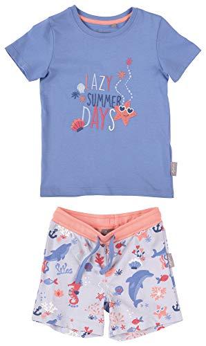 SIGIKID Mini - Mädchen und Jungen Schlafanzug, Hose und Shirt, 2-teiliger Pyjama aus Bio-Baumwolle, Größe 116, Blau (Kurz/Delfine)
