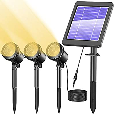 Biling Solar Spotlights Outdoor, IP68 Waterproof Solar Pond Lights with 3 Lamps, Solar Landscape Spotlights Underwater Lights for Pond,Garden,Landscape,Fountain,Outdoor,Lawn (Warm White)
